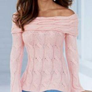 Boston Proper Cream Cable Knit Sweater Cowl Neck S